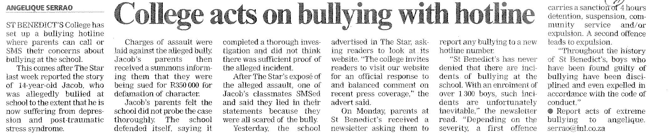 the star and city press commit themselves to rooting out bullying and prompting action by government and the school involved city press also stands out for taking a preventative approach to bullying